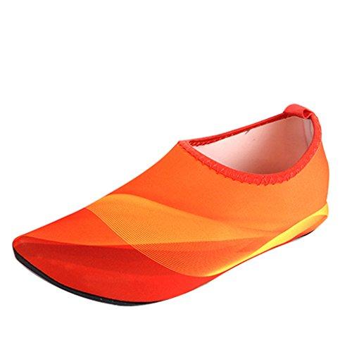 Blion Herren Damen Schwimmschuhe Barfußschuhe Wasserschuhe Surfschuhe Aquaschuhe Strandschuhe Breathable Schnell Trocknend Orange