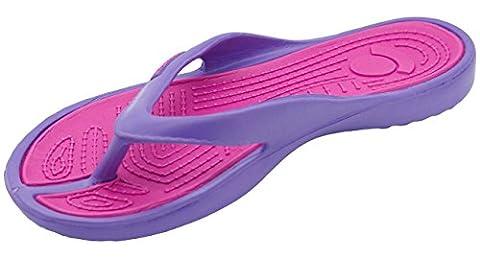 New Ladies Eva Toe Post Flip Flop Womens Pool Beach Slipper Water Proof Shoes (UK 6-EU39, Puple