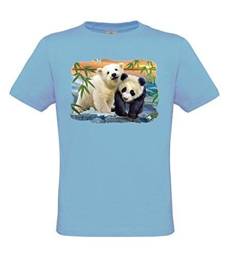 Ethno Designs Wildlife - Tiermotiv Raubtiere - Bären T-Shirt für Jungen und Mädchen - Two Bears - regular fit, skyblue, Größe (Kinder Grizzly Bär)