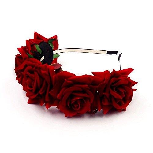 (JZK® Rot Rose Damen Mädchen Garland Blumen Krone Kranz Tiara Blumen Haarreif Haarband Haar Band Kopfband Blumenstirnband für Hochzeit Braut Brautjungfer Party Festival etc. (Rot))