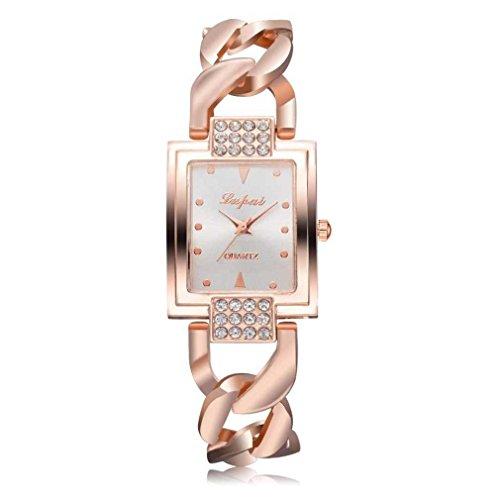 Fittingran vendita calda moda donna orologi donna guarda classico orologio al quarzo in oro bracciale in acciaio inossidabile (oro rosa-b)