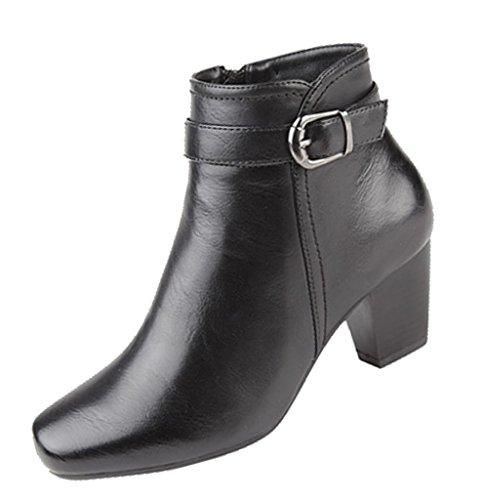 Femmes Fermeture Éclair Boucle Boots chevilles avec 55mm talon Noir