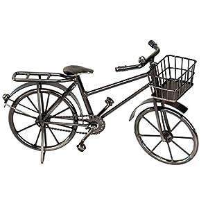 dekojohnson Deko Fahrrad mit Fahrrad-Korb Miniatur-Fahrrad Wohnaccessoires Wohndeko aus glasiertem Eisen schwarz 24cm groß