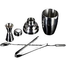 Anself Inox Set para Cóctel de Mezclador+Coctelera+Pinza de hielo+Jigger medidor