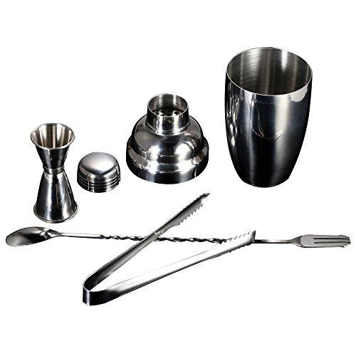 Anself 4PCS pratico Cocktail Shaker in acciaio inossidabile del miscelatore Set con Jigger Ice Tong Bere barista Kit barra degli strumenti