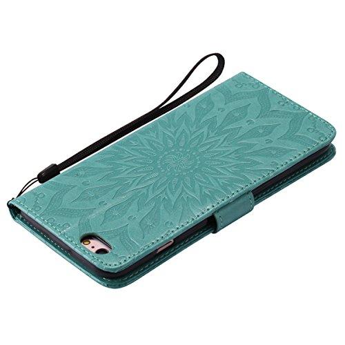 iPhone 6 Plus Coque Portefeuille Pu,iPhone 6S Plus Étui en Cuir Flip avec Folio Magnétique,Ultra Slim Leather Wallet Case Flex Soft Cuir à Rabat Téléphone Housse Etui de Protection Mode Créatif Désign Vert*