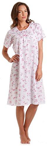 Mesdames Lady Olga Polycoton manches courtes Floral Nuisette rose ou bleu 10-32 pink