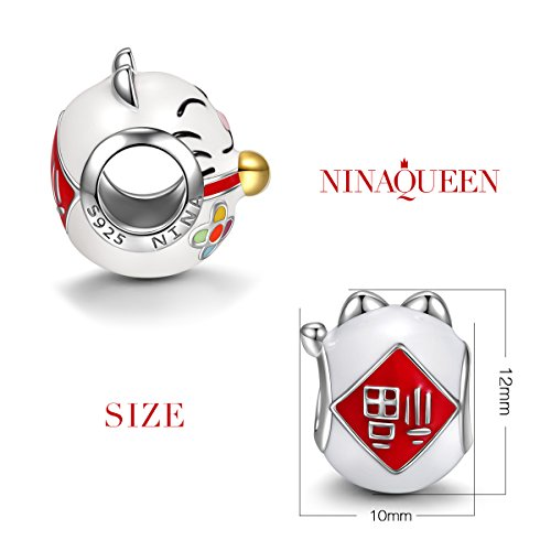 Other Charms Ninaqueen 925 Sterling Silver Enamel Japan Lucky Cat