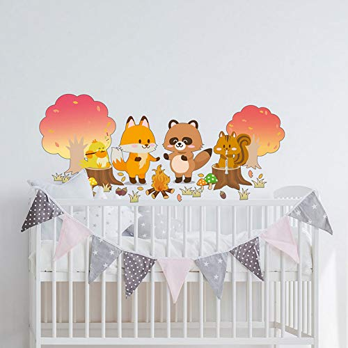 Yzybz Dekoration Aufkleber Niedlichen Tier Wald Cartoon Aufkleber 50 * 70Cm Für Kinder Schlafzimmer ()