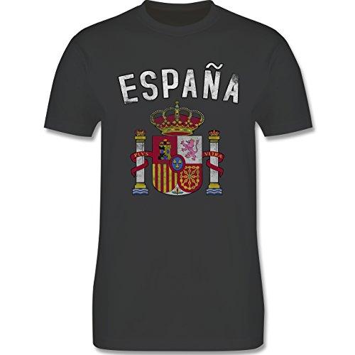 Fußball-Weltmeisterschaft 2018 - Spanien Wappen - XXL - Dunkelgrau - L190 - Herren T-Shirt Rundhals