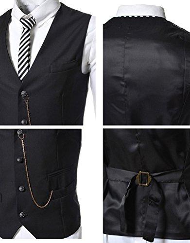 Brinny Herren Geschäft Fashion Style Vier Knopf-Klage-Weste Schwarz