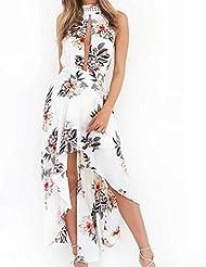 GWCSS Vestido Sin Espalda Halter Gran Cordón De La Falda , L