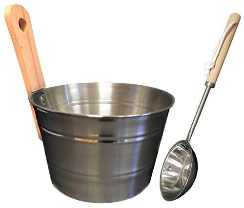 SudoreWell® Sauna Set Edelstahl mit Saunakübel + Schöpfkelle aus Edelstahl plus gratis 25g Mentholkristalle