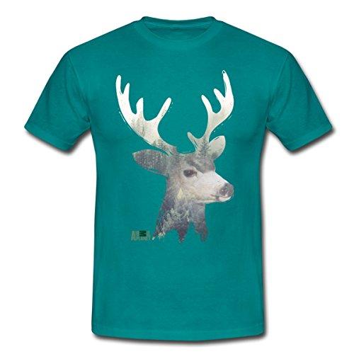 Spreadshirt Animal Planet Hirschkopf Hirsch Porträt Wald Männer T-Shirt, L, Divablau
