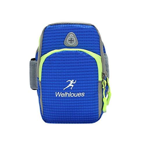 Yuanu Unisex Mode Casual Sport Musik Arm Taschen Wasserdicht Verschleißfest Outdoor Multifunktional Arm Bag Mit Kopfhörer Loch Blau Stil 2 9 * 4 * 16cm