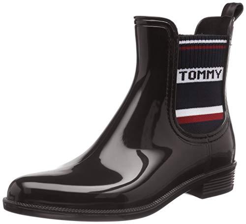 Tommy Hilfiger Damen TOMMY ELASTIC RAIN BOOT Gummistiefel, Schwarz (Black 990), 39 EU