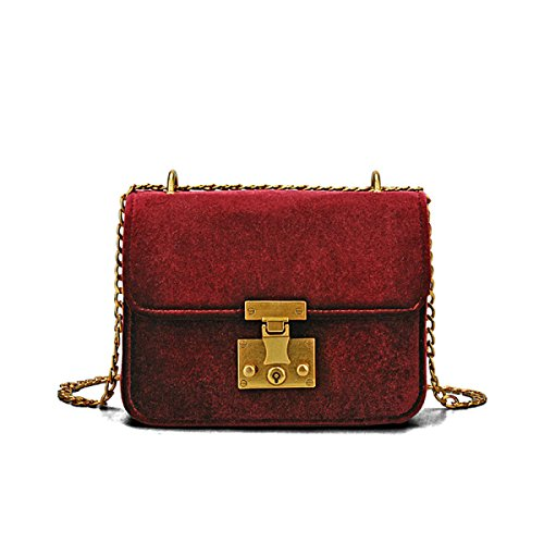 8177b4105b54d Damen Samt Mini Kleine Quadratische Tasche Kettensack Schloss Schulter  Messenger Bag Mode Klassisch Elegant Red