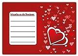 10 Weitflugkarten Ballonkarten Ballonflugkarten Luftballon Karten Flugkarten Ballon set Herzen