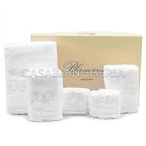 Set asciugamani bagno blumarine delizia 5 pezzi-bianco