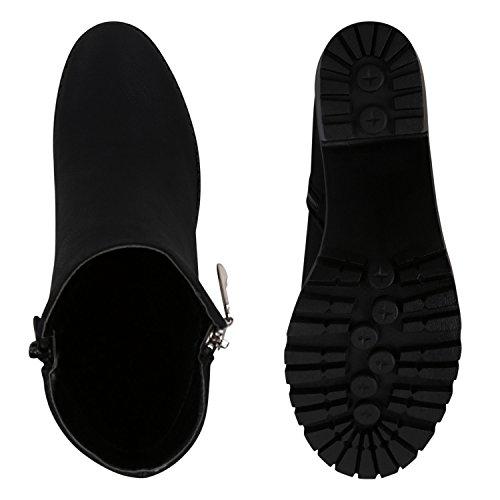 Damen Stiefeletten Ankle Boots Profilsohle Blockabsatz Schnürer Schwarz Schwarz
