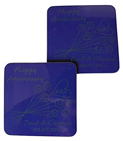 Personlised 65e anniversaire de mariage (Saphir bleu) Paire de dessous-de-verre Fleur