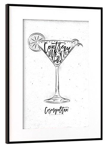 artboxONE Poster mit Rahmen Schwarz (Metallic) 45x30 cm Cosmopolitan Cocktail White von Anna Kozlenko