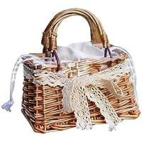 Mini bolso tejido para niña, bolso Bolso tejido lindo de cesta para niñas pequeñas