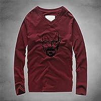 Men 's Wear,sudaderas con capucha Ropa de Hombre V T - Shirt, Pesada de algodón, Ropa de Hombre, Calle en otoño,Rojo,S Code