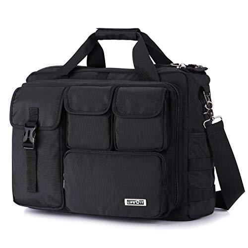 Lifewit Laptoptasche Herren 17-17.3 Zoll Taktische Umhängetasche Militärischer Schultertasche Wasserdicht aus Nylon Schwarz