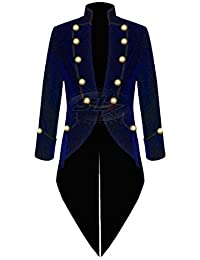 Star Leather Hommes Steampunk Vintage Gothique Velours Queue de Pie Noir  MACHAON Veste (Toutes Les 27105ae79d8