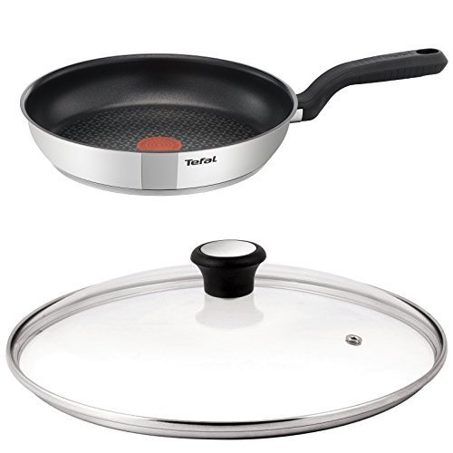 Tefal Comfort Max Stainless Steel 26 cm Non-Stick Frying Pan with Compatible Glass Lid Bundle