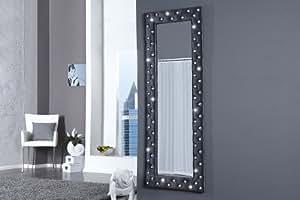 Riess Ambiente Boutique Grand miroir mural 60 x 170 avec strass, Gris argent velours