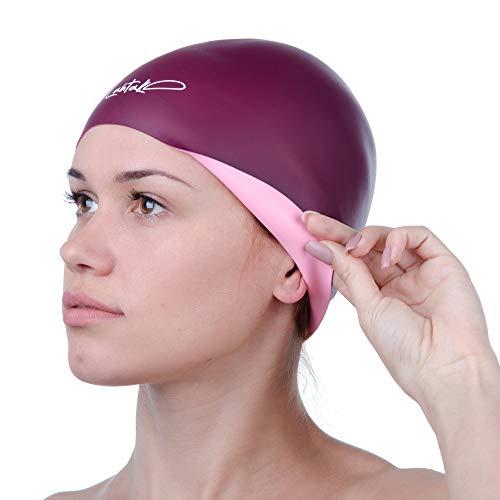 Badekappe Reversibel 3D - Badehaube - Badekappe Damen Herren Mädchen Jungen - Bademütze - Schwimmmütze Damen Wasserdicht - Schwimmhaube Kurze und Lange Haare - Schwimmkappe - Swim Cap (Wein & Rose)