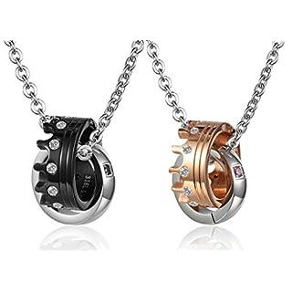 Aienid Partner-Anhänger Halskette Aus Edelstahl Schwarze Rose Gold Zwei Rose Zirkonia