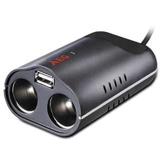 AEG Automotive 97220 Doppelsteckdose DB 2.1, 70 Watt mit 12 Volt mit USB-Buchse