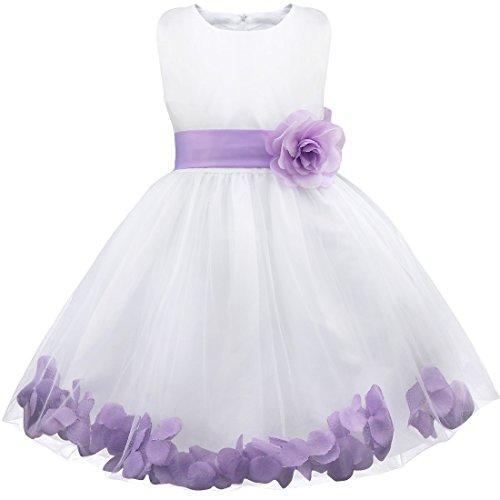 YiZYiF Mädchen Kleid Prinzessin Kleid Blumenmädchen Hochzeit Festzug Gebunden Taille 92-164 (116 (Herstellergröße: 6), Lavendel)