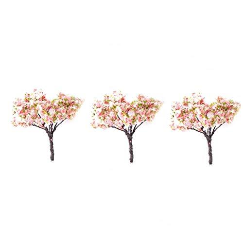 XKJFZ Modell Mini-Bäume Landschaftsarchitektur Miniatur-Bäume Fee Garten Baum zu Pflanzen DIY Fertigkeit-Garten-Verzierung Baum 3Pcs Simulation (Kirschblüte)