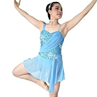 MiDee Sequins Sweetheart Camisole Lyrical Dress Dance Costume (MC, Blue)