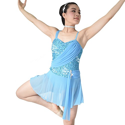 MiDee Pailletten Hemdchen, Oder So Was Lyrische Kleid Tanzen Kostüm (LA, Blau)