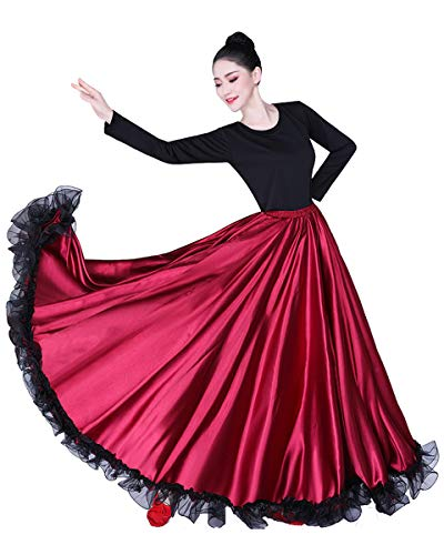 Grouptap Flamenco rot Satin Spitze spanisch mexikanisch Maxi Lange schaukel Tanz Rock Erwachsene Frauen Damen Farbe wickelkleid tänzerin kostüm (Violett, - Spanischer Tanz Kostüm Mädchen