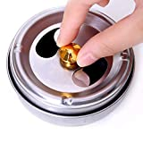 #3: Forberesten 2 Pcs Stainless Steel Ashtray Lid Rotation Fully Enclosed Practical Smoking Accessories Home Gadgets