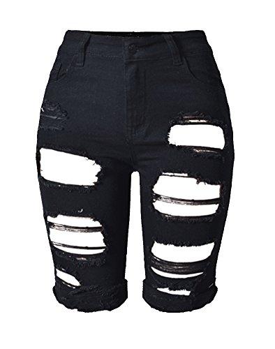 Sexy Distressed Jeans (Tribear Damen Denim Stretch Jeans Hohe Taille Skinny Distressed Kurze Jeans (EU 42(10), Schwarz))