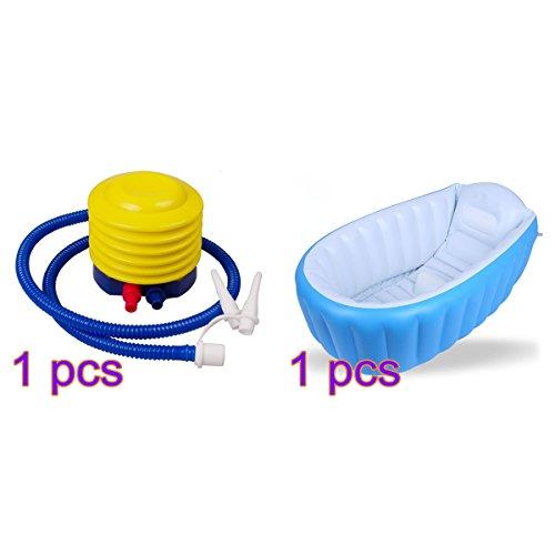 Moonvvin aufblasbares Schwimmbecken Baby Badewanne, portable Mini Air Kid Infant Kleinkind Dicke Dusche Waschbecken faltbar mit weichem Kissen Central Sitz mit Kompressor Pumpe -