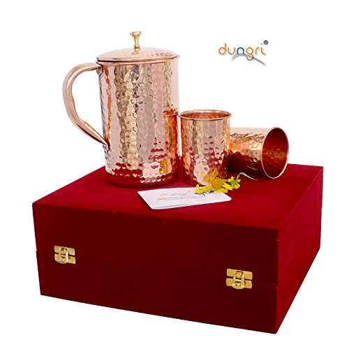 Dungri ® Pure Kupfer gehämmert 1600 ML Pitcher Krug & 2 Kupfer Trommel Glas 250 ML IN VELVET BOX - EINZIGARTIGE GESCHENK IDEE FÜR ALLE (Pur-krug Alle)