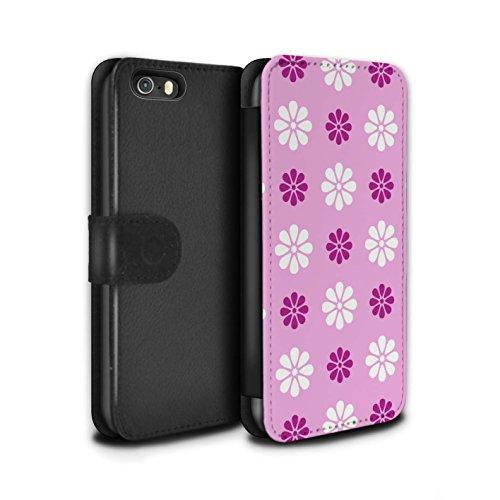 Stuff4 Coque/Etui/Housse Cuir PU Case/Cover pour Apple iPhone 5/5S / Violet Design / Motif avec pétales Collection Rose