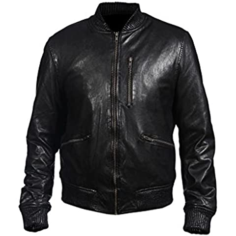 Men's Bomber Nappa Leather Casual Black Leather Jacket