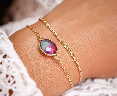 Bracelet été doré - bracelet double tours - bracelet chaîne plaqué or - bracelet pierre Quartz bleu et rose dégradé - bracelet coloré été