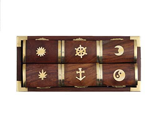 storeindya Geschenke Set bestehend aus 6 Pillenboxen aus Holz, Eulen pillenbox aus Holz mit 6 Fächern Medizinische Spender mit Tablett und Einlagen aus Rosenholz-Eule Wohnkultur -