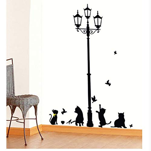 WFYY Heiße Freche Katzen Vögel und Straßenlaterne Lampe Post Wandaufkleber Dekoration Schulzimmer Kindergarten Wandaufkleber