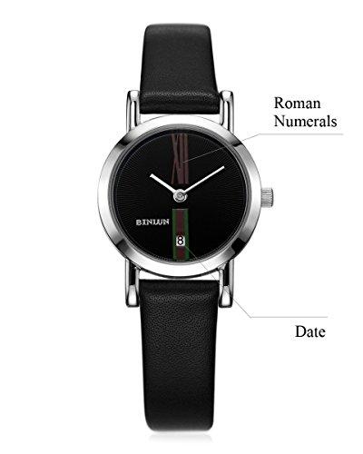 BINLUN Paar Uhren Lover 's Quarz Silber Armbanduhr Für Herren Damen mit Schwarz Kalbsleder Leder Datum Minimalistisch Zifferblatt
